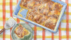 a plate of food on a table: Illustration of breakfast casserole