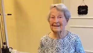 91-year-old woman celebrates end of therapy with jitterbug dance