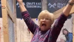 Ax-throwing grandma shows off her skills