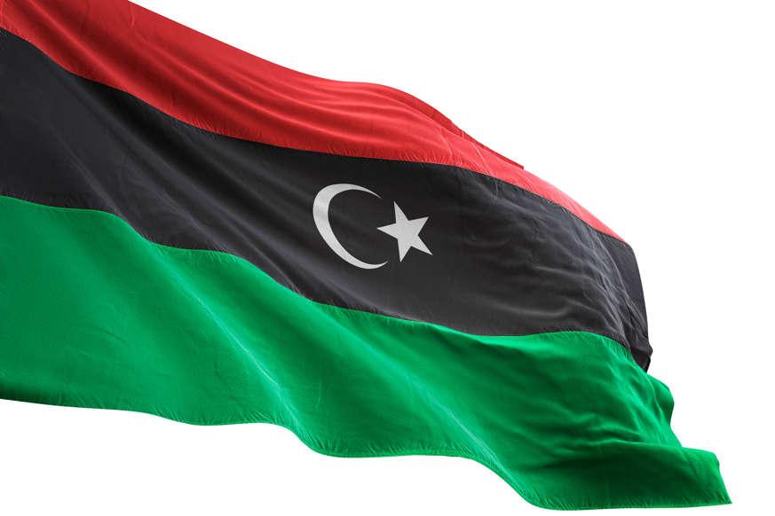 الشريحة 11 من 22: Libya flag close-up waving isolated white background realistic 3d illustration