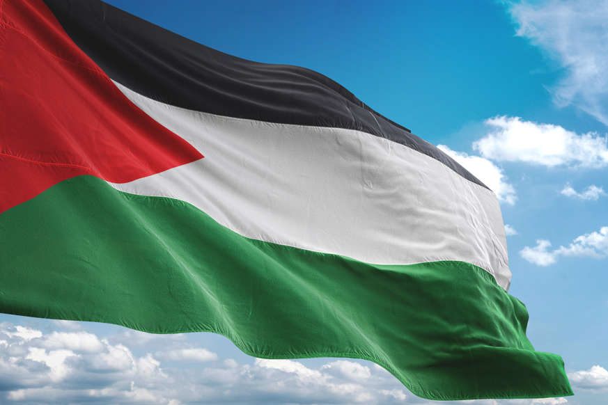 الشريحة 16 من 22: Palestine flag waving cloudy sky background realistic 3d illustration