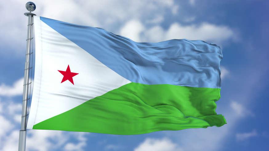 الشريحة 5 من 22: Djibouti Flag in a Blue Sky. Use this clip loud and proud to express loyalty and love to our country. It is a seamless loop with luma channel.