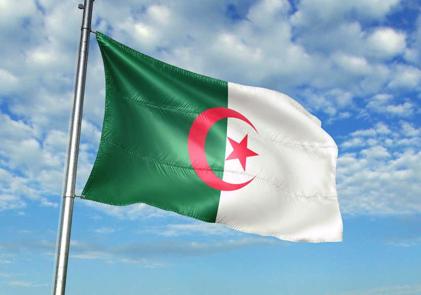 الشريحة 6 من 22: Algeria flag on flagpole waving cloudy sky background realistic 3d illustration