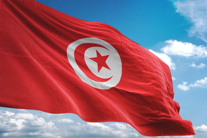 الشريحة 18 من 22: Tunisia flag waving cloudy sky background realistic 3d illustration