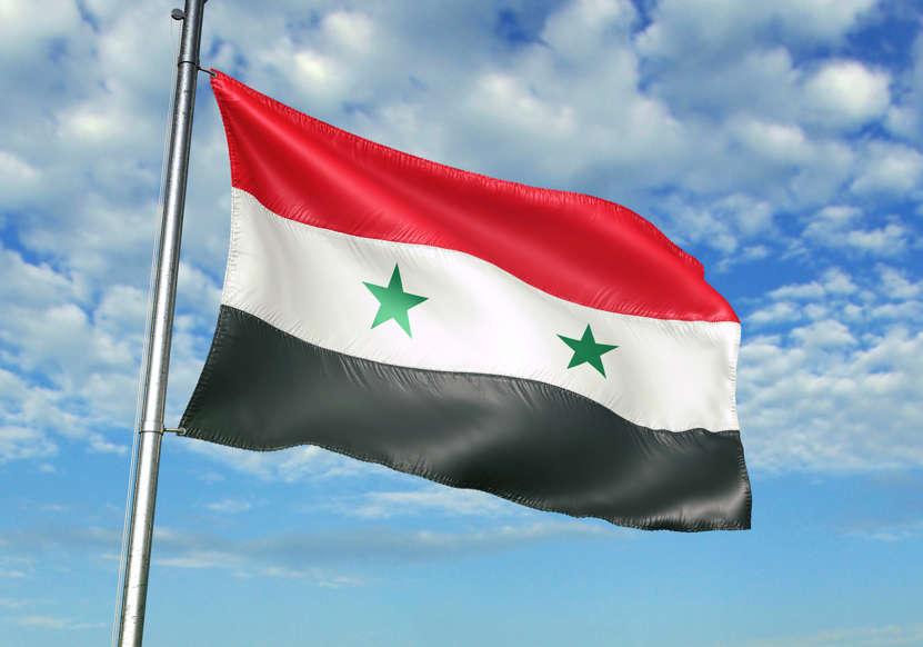 الشريحة 20 من 22: Syria flag on flagpole waving cloudy sky background realistic 3d illustration