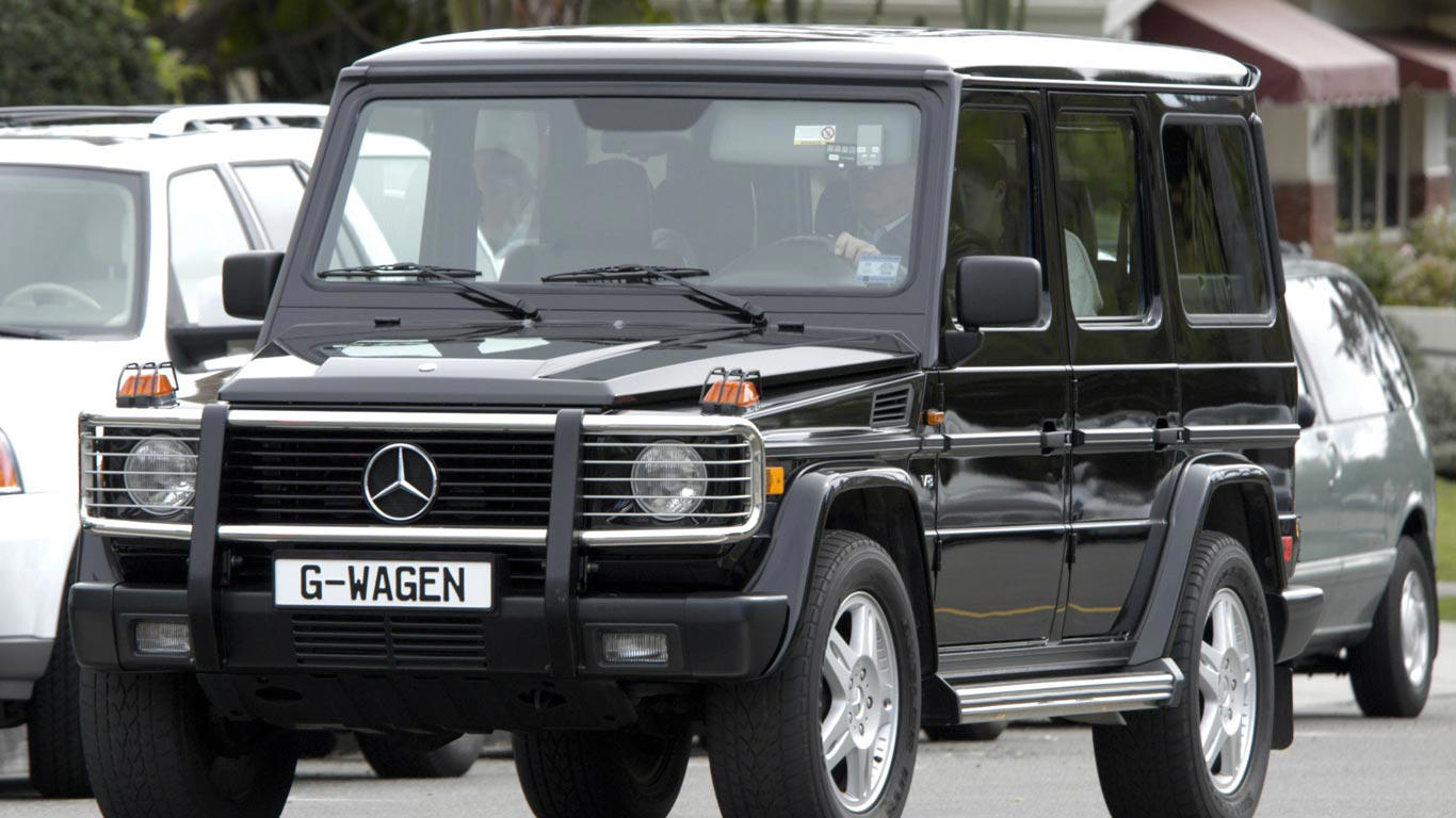 Slide 8 of 35: Arnold Schwarzenegger is known for liking his Hummers, but here he is in a Mercedes G-Class.