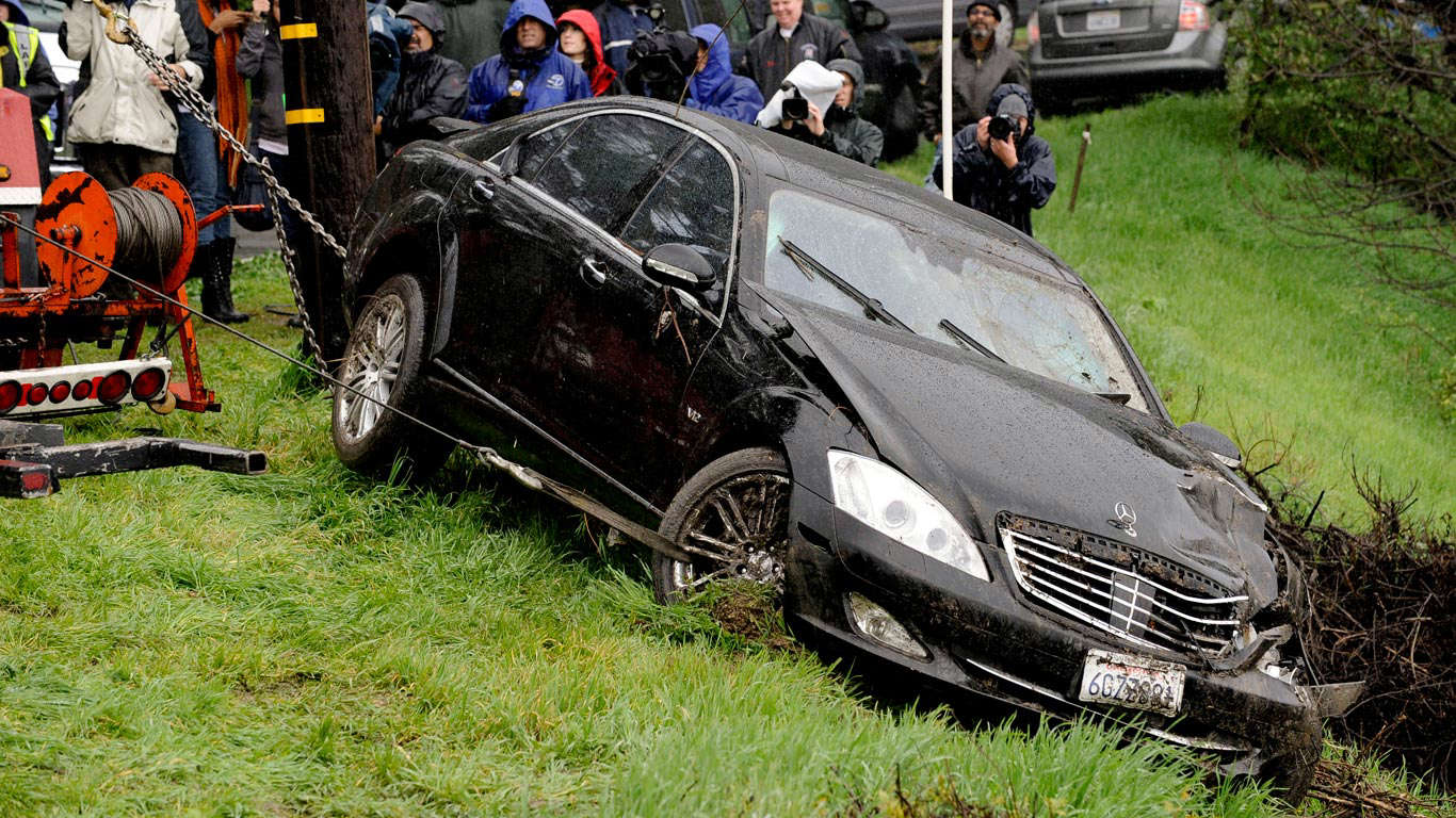 Slide 13 of 35: This was actor Charlie Sheen's Mercedes-Benz S-Class, until he stuffed it in a ditch. Fail.