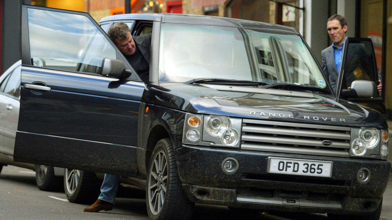 Slide 18 of 35: Top Gear's Jeremy Clarkson is known to be a fan of Range Rovers. Here he is with a modified Overfinch version.