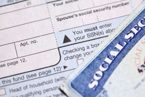 Social security card and form.