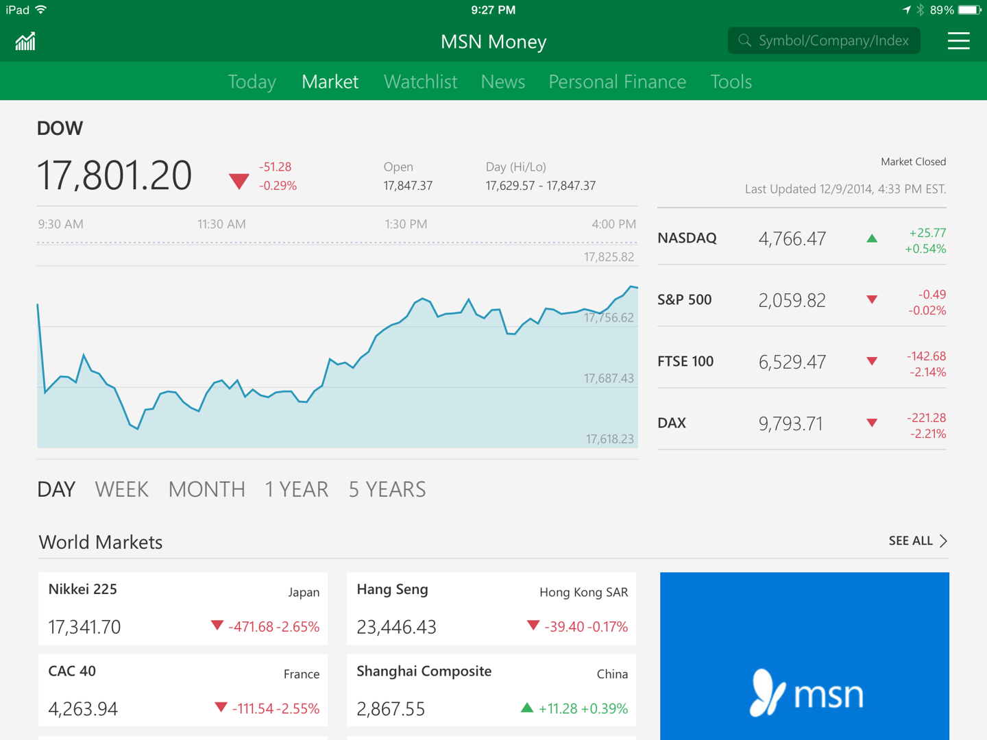MSN Money App now available on iOS and Android