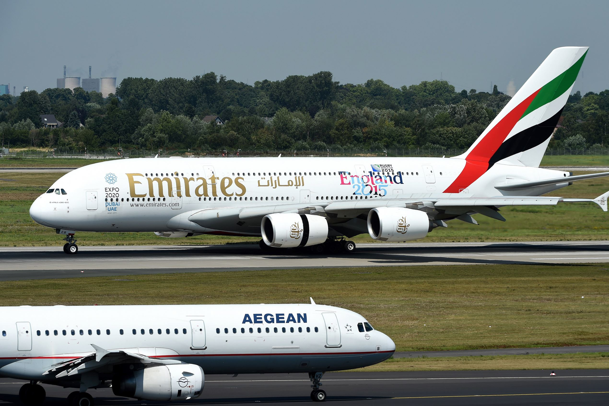 An Airbus A 380 of airline 'Emirates' rolls on the runway on August 3, 2015 in Duesseldorf, western Germany.