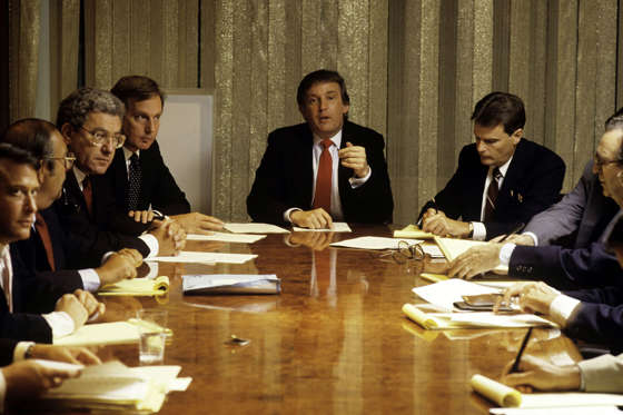 Donald Trump, real estate mogul, entrepreneur, and billionare spends most of his day attending board meetings in which he manages the construction of his buildings in his offices on August 1987 in New York City.