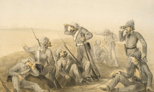 Slide 1 of 57: File: British troops man an outlying picket during the Siege of Delhi, a conflict of the Indian Rebellion of 1857.
