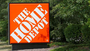 The sign showing the location of the Home Depot store in Cranberry, Pa., Butler County, is seen on Wednesday, Sept. 10, 2014. Shares of Home Depot are under pressure Wednesday as the home improvement retailer contends with the fallout of a data breach at its more than 2,000 U.S. and Canadian stores.