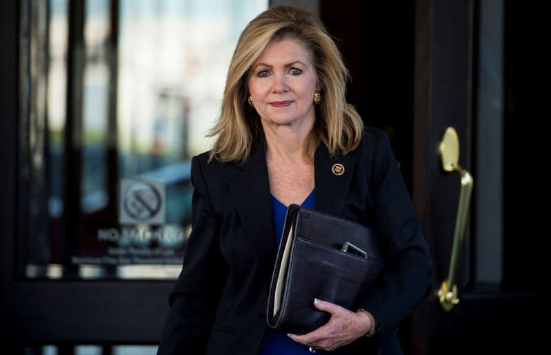 Rep. Marsha Blackburn, R-Tenn., leaves the House Republican Conference meeting at the Capitol Hill Club on Nov. 3, 2015.