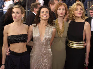 "The cast of ""Sex and the City"" arrive at the 7th Annual Screen Actors Guild Awards 11 March 2001 in Los Angeles. From left are: Sarah Jessica Parker, Kristin Davis, Cynthia Nixon and Kim Cattrall."