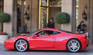 The-Dream out and about in Los Angeles, America - 29 Aug 2014 The-Dream with his red Ferrari