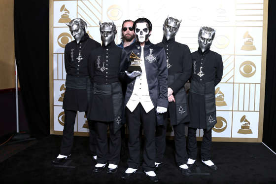 Musician Papa Emeritus III (C) and fellow members of Ghost, winners of the award for Best Metal Performance for 'Cirice,' poses in the press room during The 58th GRAMMY Awards at Staples Center on February 15, 2016 in Los Angeles, California.