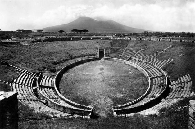 Various Ruins of the Amphitheatre with Mount Vesuvius in background, Pompei, Italy