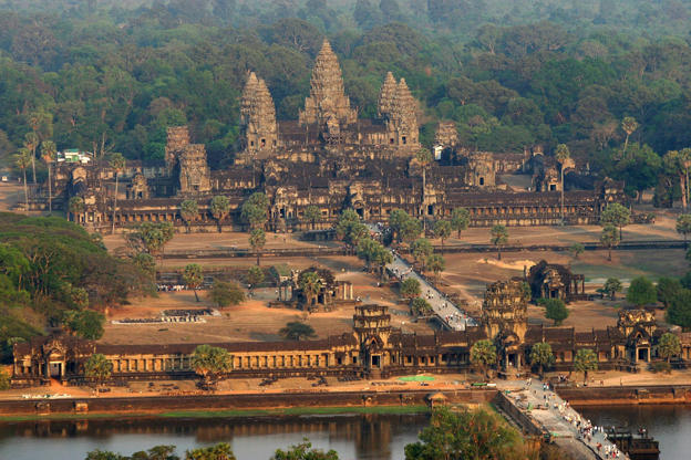 An aerial view of the Angkor Wat temple in Siem Reap province some 314 kilometers northwest of Phnom Penh, 02 March 2007.  Angkor is at the very heart of Cambodia's identity, and with nearly two million tourists coming to the country