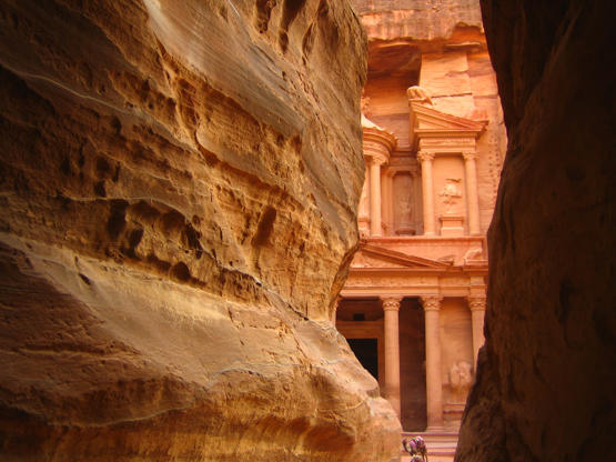 VARIOUS Petra, Nabatean ruins, Jordan. Palace with lion-carved entrance. circa 1960
