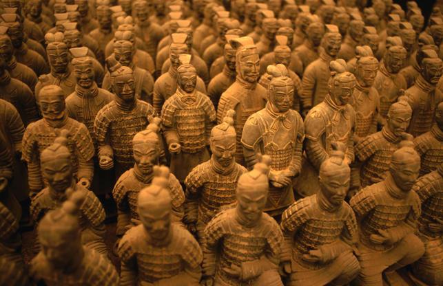 CHINA - 1993/01/01: China, Shaanxi Province, Xian, Qin Shi Huang Di Tomb, Terra Cotta Soldiers. (Photo by Wolfgang Kaehler/LightRocket via Getty Images)