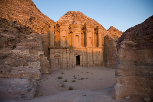 View of The Great Temple and Arched Gate in ancient city Petra, Jordan