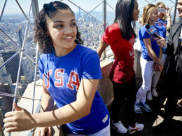 U.S. Gymnast Laurie Hernandez, back from the Rio Olympics,  looks out from atop ...