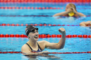 Katie Ledecky of the United States celebrates after winning the gold medal in the 200m Freestyle, in Rio de Janeiro, on Tuesday.