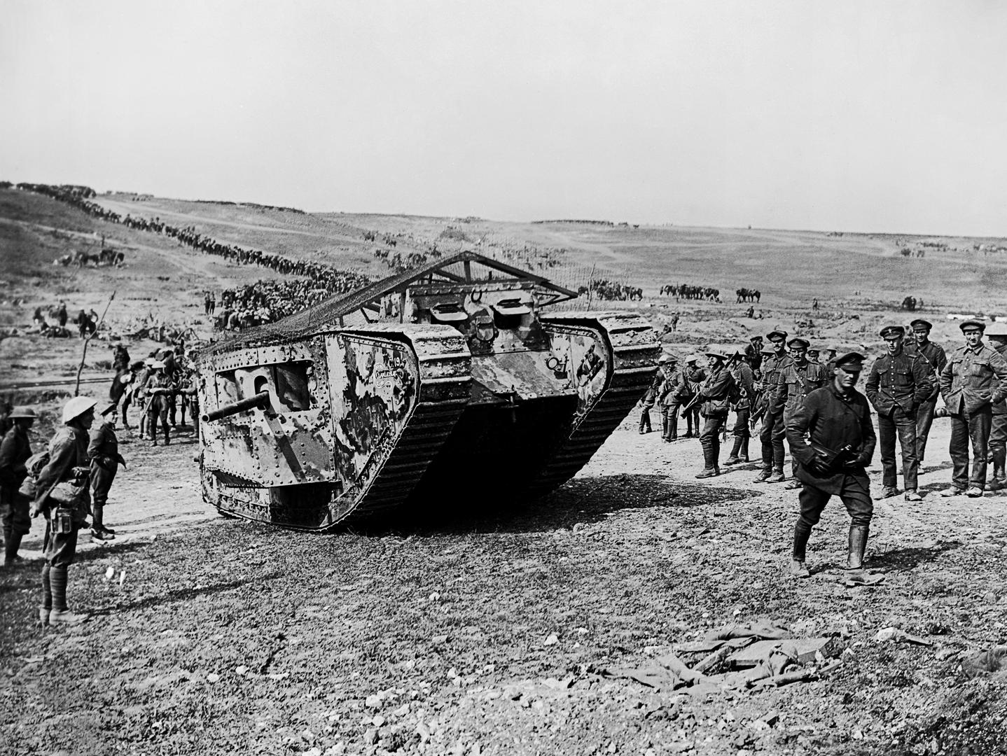 Slide 3 of 10: A 'C' Company Mark I (C19 Clan Leslie) in Chimpanzee Valley preparing for action on 15 Sept. 1916. First use of tanks in warfare at Battle of Flers-Courcelette, part of the Battle of the Somme.
