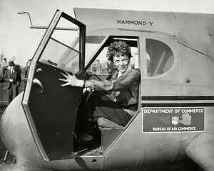 Amelia Earhart in Department of Commerce airplane, 1936.