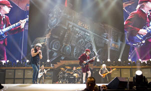 INDIANAPOLIS - NOVEMBER 03:  Australian rock band AC/DC performs in concert on their 'Black Ice World Tour' at the Conseco Fieldhouse on November 3, 2008 in Indianapolis.  (Photo by Joey Foley/FilmMagic)