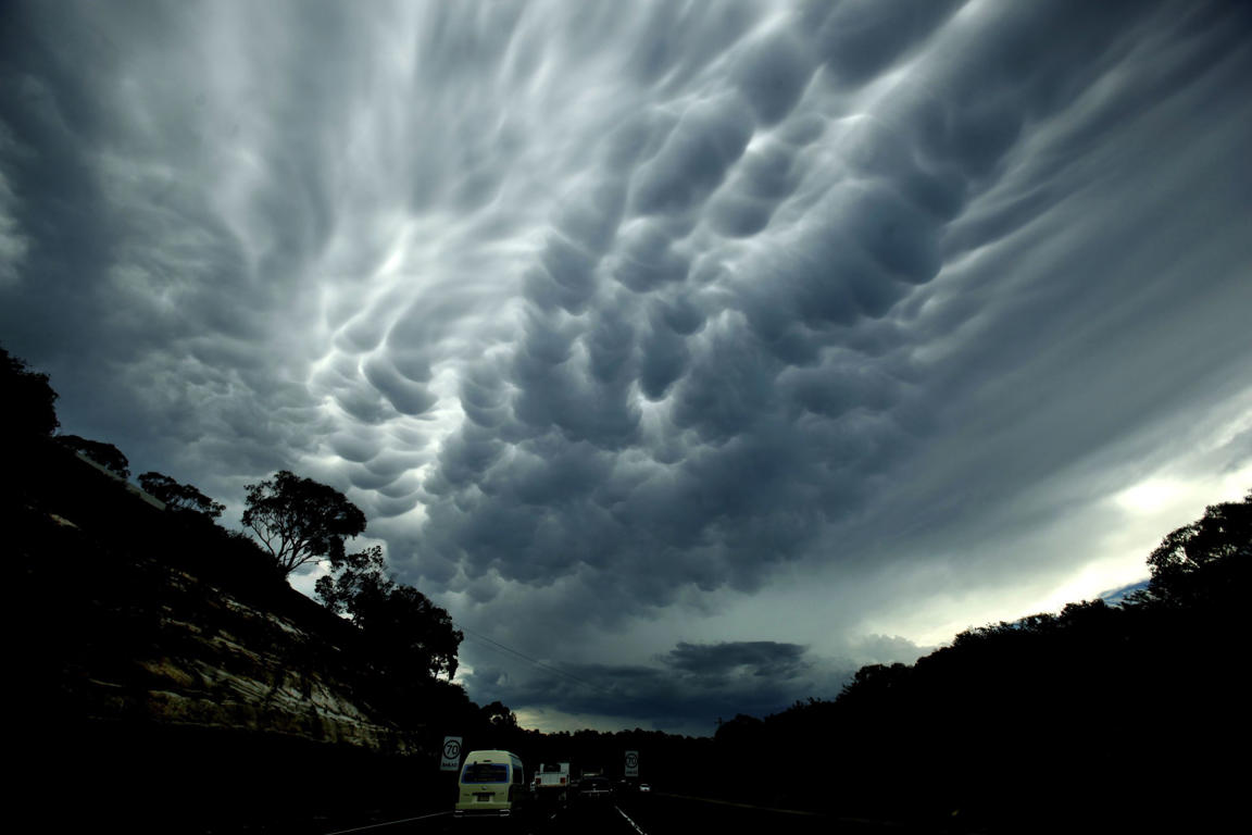 Mammatus cloud formation from a powerful storm over the lower Blue Mountains and Penrith, NSW.