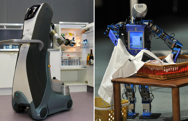 """Slide 8 de 27: Service robot """"Care-O-bot 3"""" takes a bottle out of the fridge in a training apartment. The robot can help in the housekeeping like getting and serving drinks or clearing the dustbin. A humanoid robot Aero-Blue in Japan."""
