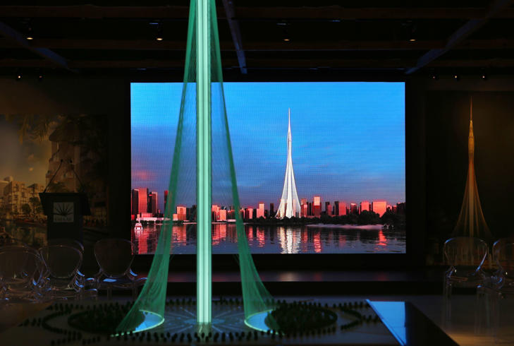 A model of the Tower Project at Dubai Creek Harbour Development