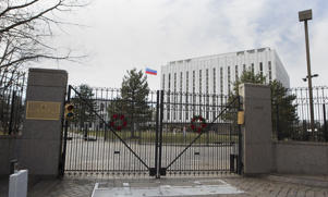 The Russian Embassy in Washington, DC, on December 31, 2016. US President-elect Donald Trump praised Russian President Vladimir Putin for refraining from tit-for-tat expulsions of Americans in response to US punitive measures over alleged Russian interference in the November election.