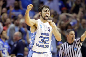 Luke Maye #32 of the North Carolina Tar Heels reacts after a basket late in teh second half against the Kentucky Wildcats during the 2017 NCAA Men's Basketball Tournament South Regional at FedExForum on March 26, 2017 in Memphis, Tennessee.