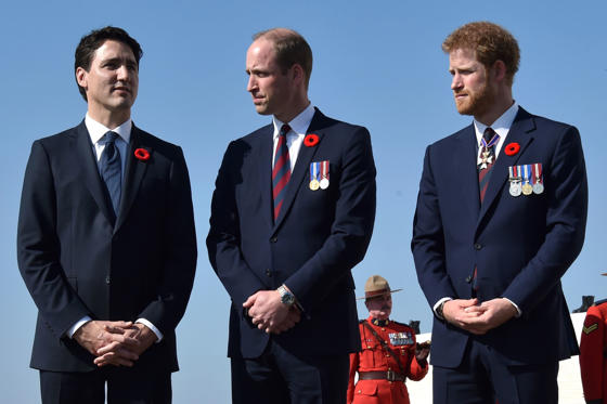 Slide 1 of 32: (Left) Canadian Prime Minister Justin Trudeau, (Center) Britain's Prince William, Duke of Cambridge and (Right) Britain's Prince Harry stand during the commemorations of the 100th anniversary of the Battle of Vimy Ridge at the WWI Canadian National Vimy Memorial on April 9. The commemorative ceremony honors the Canadian soldiers who were killed or wounded during the Battle of Vimy Ridge in April 1917.