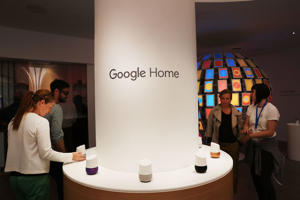 People visit the new Google pop-up shop in the SoHo neighborhood on October 20, 2016, in New York City. The shop lets people try out new Google products such as the Pixel phone, Google Home, and Daydream VR. The products will be available for purchase offsite at Verizon and Best Buy retail stores.