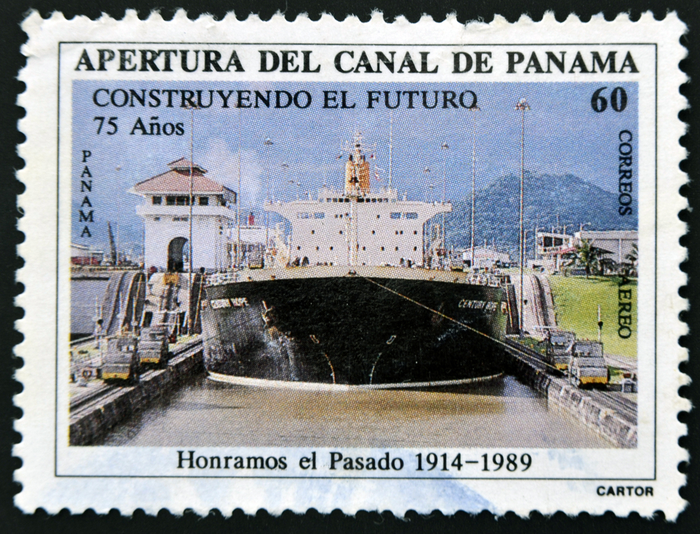 Slide 5 of 70: PANAMA - CIRCA 1989: A stamp printed in Panama dedicated to the opening of the Panama Canal, circa 1989