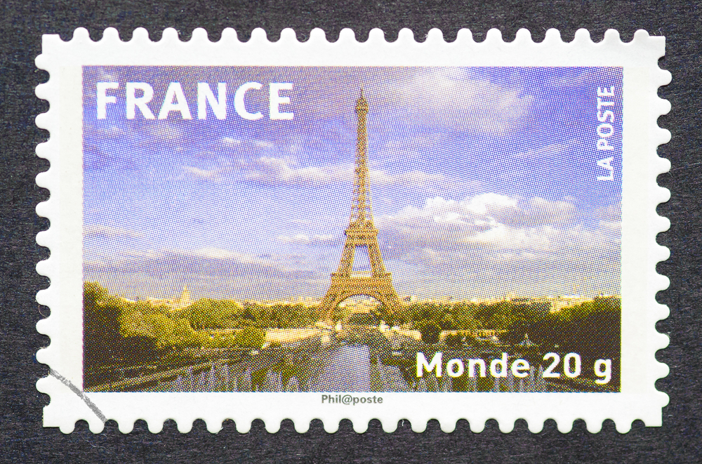 Slide 17 of 70: FRANCE - CIRCA 2009: postage stamp printed in France showing an image of the Eiffel Tower, circa 2009.