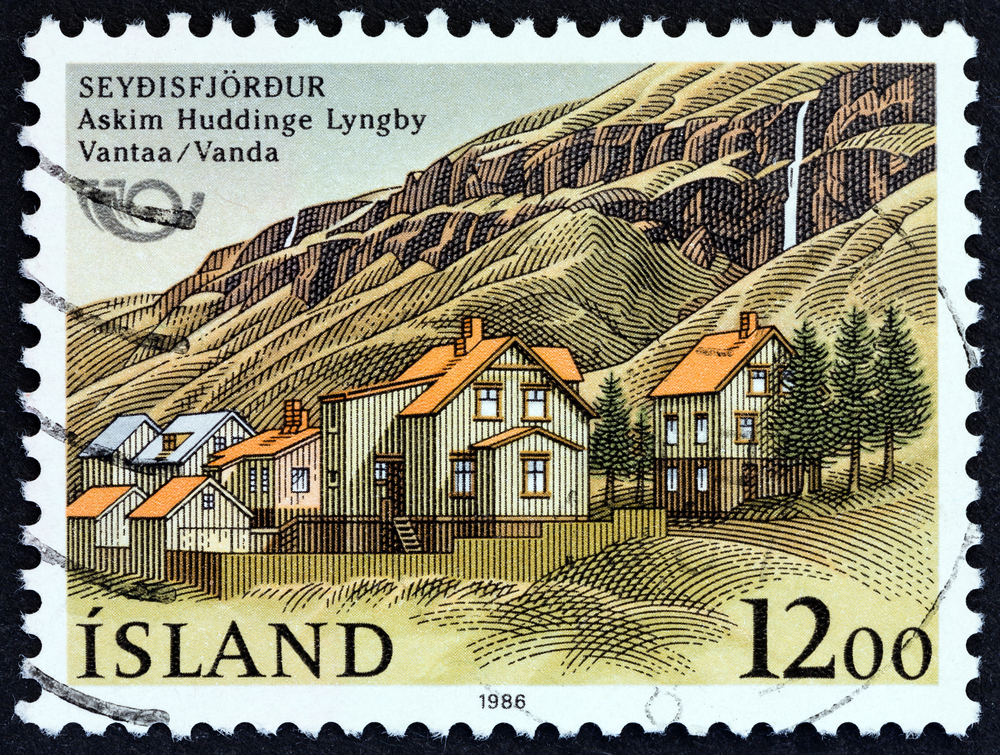 """Slide 13 of 70: ICELAND - CIRCA 1986: A stamp printed in Iceland from the """"Northern Edition - Friendship Towns """" issue shows Seydisfjordur, circa 1986."""