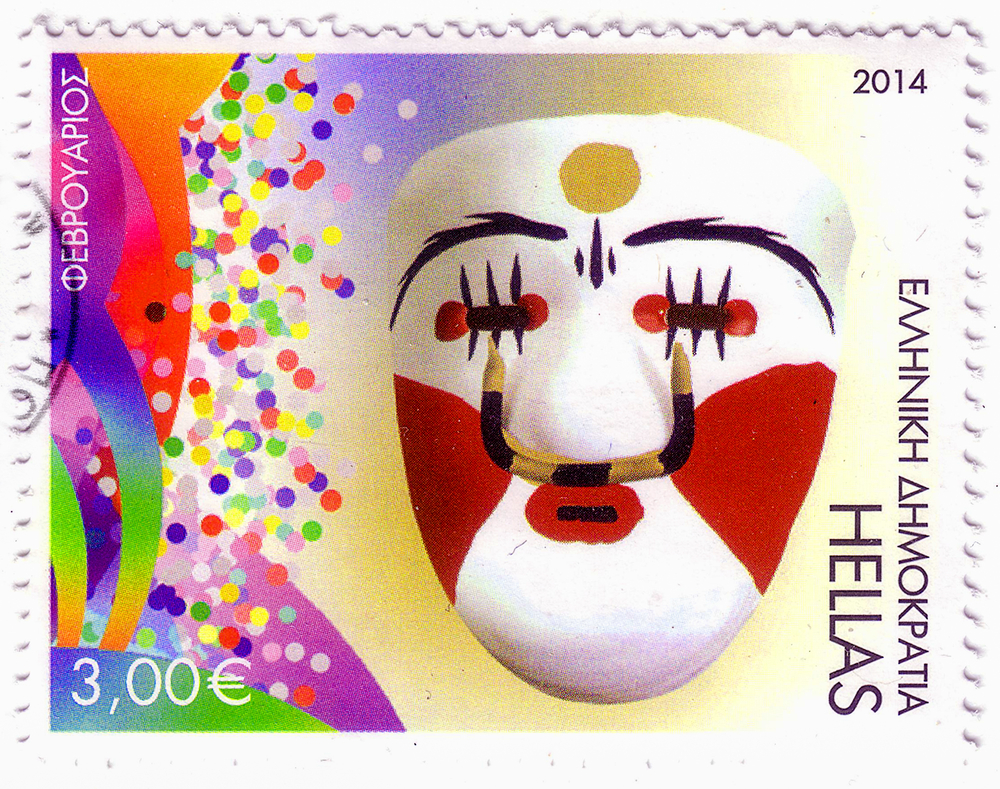 Slide 25 of 70: GREECE - CIRCA 2014: A stamp printed in Greece showing mask, circa 2014