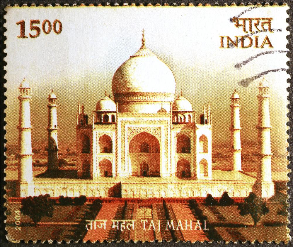 Slide 36 of 70: Milan, Italy - July 15, 2016: Taj Mahal on indian postage stamp