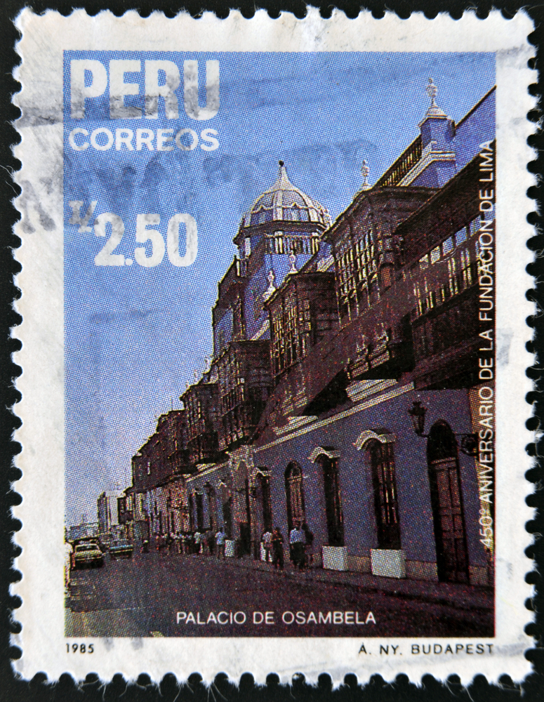 Slide 9 of 70: PERU - CIRCA 1985: A stamp printed in Peru commemorating the 450th anniversary of the founding of Lima, showing the palace Osambela, circa 1985