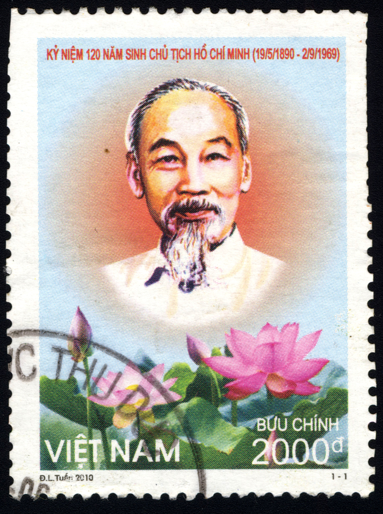 Slide 43 of 70: SINGAPORE â?? JULY 19, 2016: A stamp printed in Viet Nam shows 120th Anniversary of Birth of President Ho Chi Minh, circa 2010