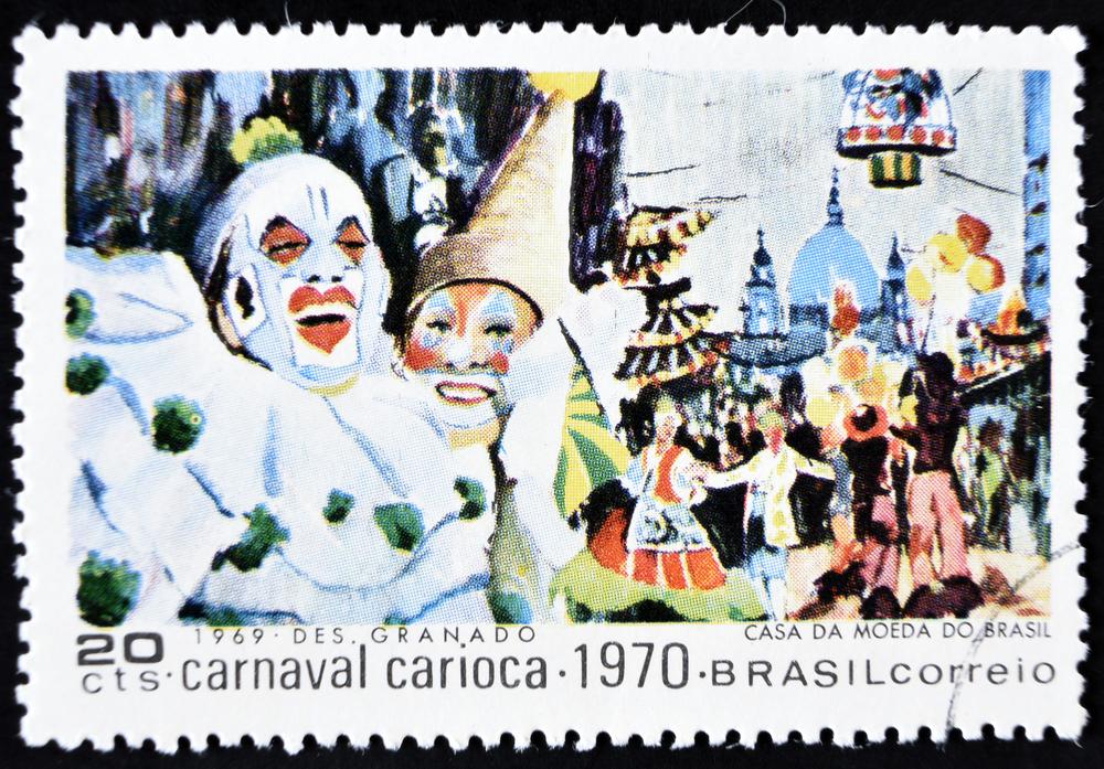 Slide 11 of 70: GRANADA, SPAIN - January 31, 2017: stamp printed in Brazil shows Carnival Scene, 1970