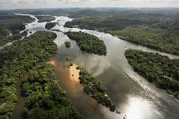 NEAR ALTAMIRA, BRAZIL - JUNE 15: The Xingu River flows near the area where the Belo Monte dam complex is under construction in the Amazon basin on June 15, 2012 near Altamira, Brazil.